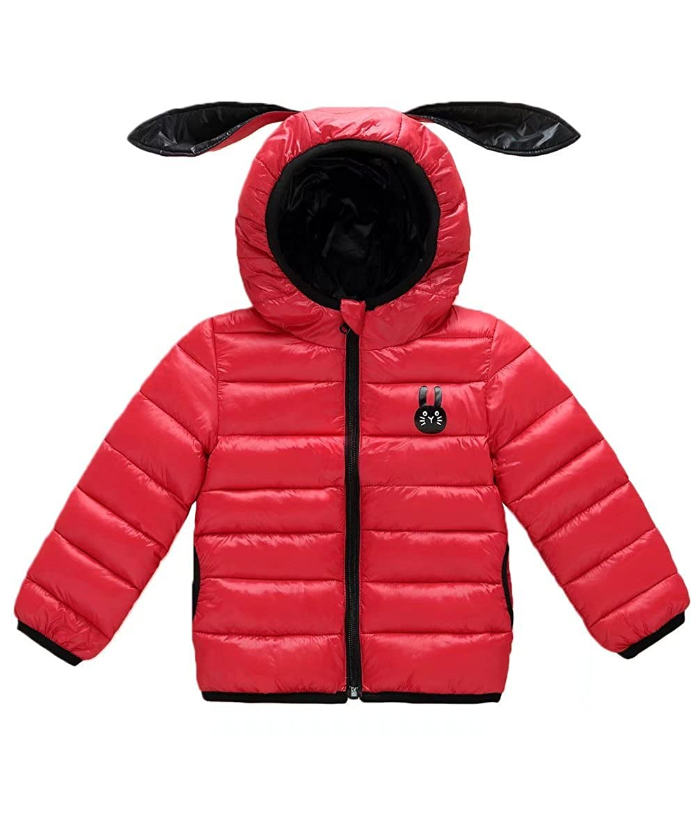 Gxia Little Girls Winter Lightweight Rabbit Ears Hooded Down Jacket 1T-4T
