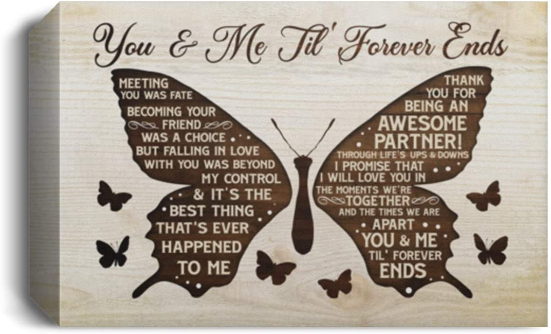 "TeeWind Butterfly You and Me Til Forever Ends Wrapped Framed Canvas Prints - Unframed Poster - Home Decor Wall Art, 18"" x 12"", 1.5'' Deluxe Framed Canvas/White"