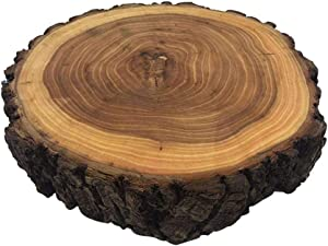 10-13Inches x2Inches Elmwood Wooden bark cake stand Excellent for Wedding Centerpiece, DIY Projects, Table Chargers, or Country Decor