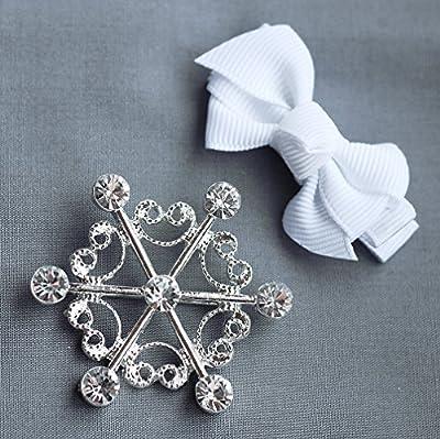 10 pcs Snowflake Rhinestone Buckle Wholesale Buckle Crystal Slider Silver Wedding Invitation Napkin Ring Wedding Supplies BK068