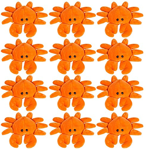 Animals Crabs (Wildlife Tree 3.5 Inch Crab Mini Small Stuffed Animals Bulk Bundle of Ocean Animal Toys or Sea Party Favors for Kids Pack of 12)