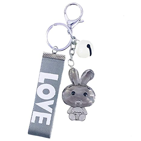 Daliuing - Llavero con colgante de conejo transparente para ...