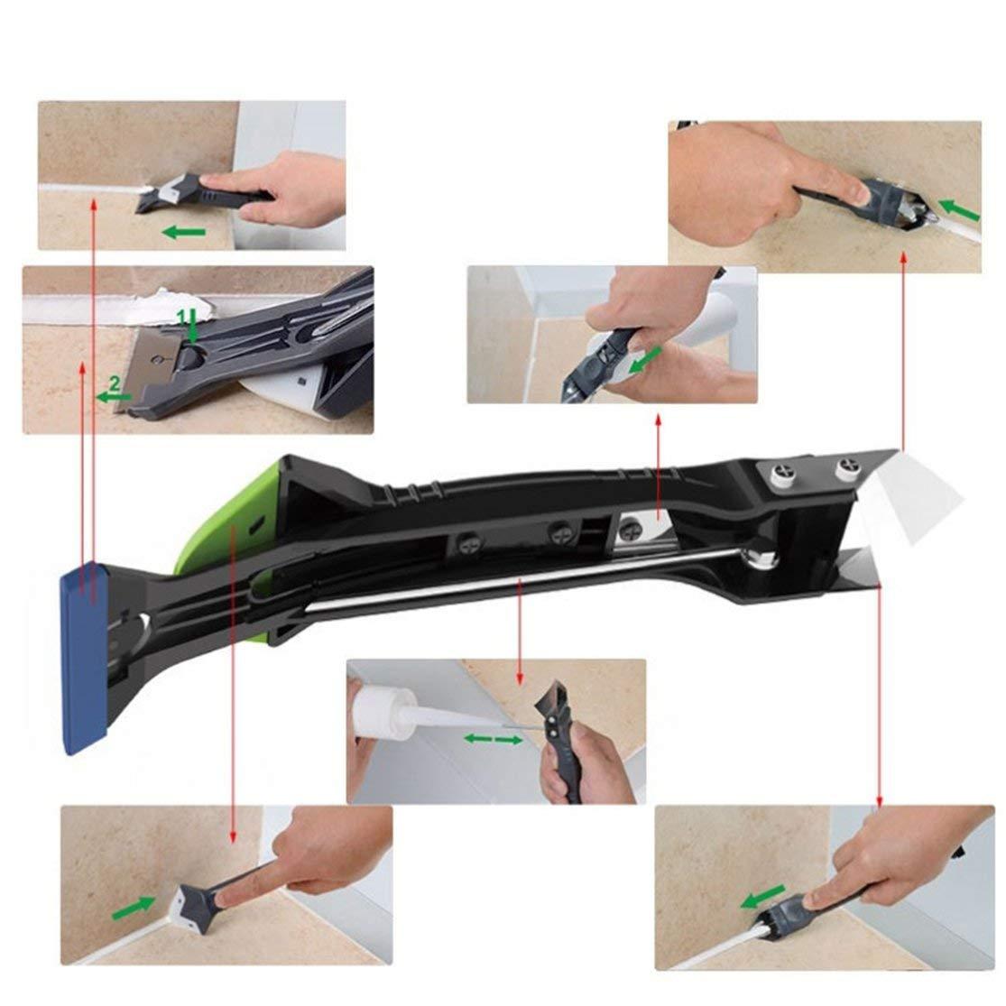 Creative 5 In 1 Silicone Remover Sellador de calafateo Sellador Rascador liso Kit de lechada Herramientas Herramientas de mano de pl/ástico Set Accesorios Negro-Verde