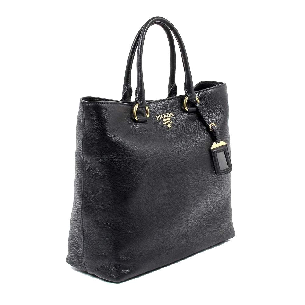 Prada Women's Black Vitello Phenix Leather Shopping Tote 1BG865