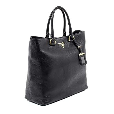 fbbf7f383ac7 Amazon.com: Prada Women's Black Vitello Phenix Leather Shopping Tote ...