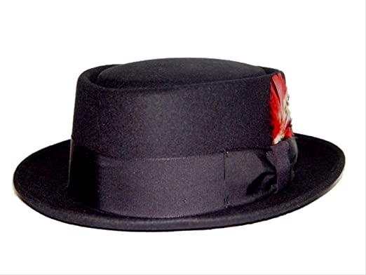 Amazon.com  New Mens 100% Wool Black Porkpie (Pork Pie) Hat  Clothing 847b0426376