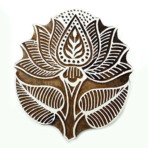 Handcarved Lotus Printing Block Wood Block Texile Stamp Block print - Wood Print Craft