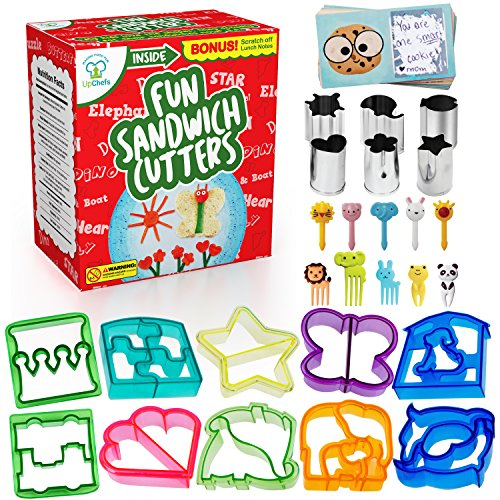 Fun Sandwich and Bread Cutter Shapes for kids - 10 Crust & Cookie Cutters - PLUS 6 FREE Mini Heart & Flower Stainless Steel Vegetable & Fruit Stamp Set and 10 Food Picks Loved by both Boys & Girls! -