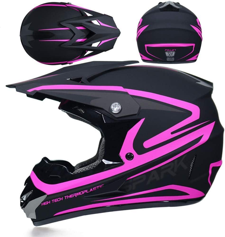 Noir et Rose//Certification Dot Casque de Moto Cross Casque int/égral pour Adulte,Casque de Moto pour Descente de VTT Casque Visage Complet Helm pour Femmes