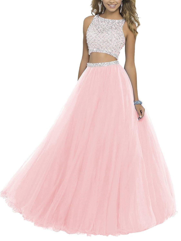 Pink SDRESS Women's Beaded Rhinestones Crewneck Aline 2 Pieces Tulle Prom Dress