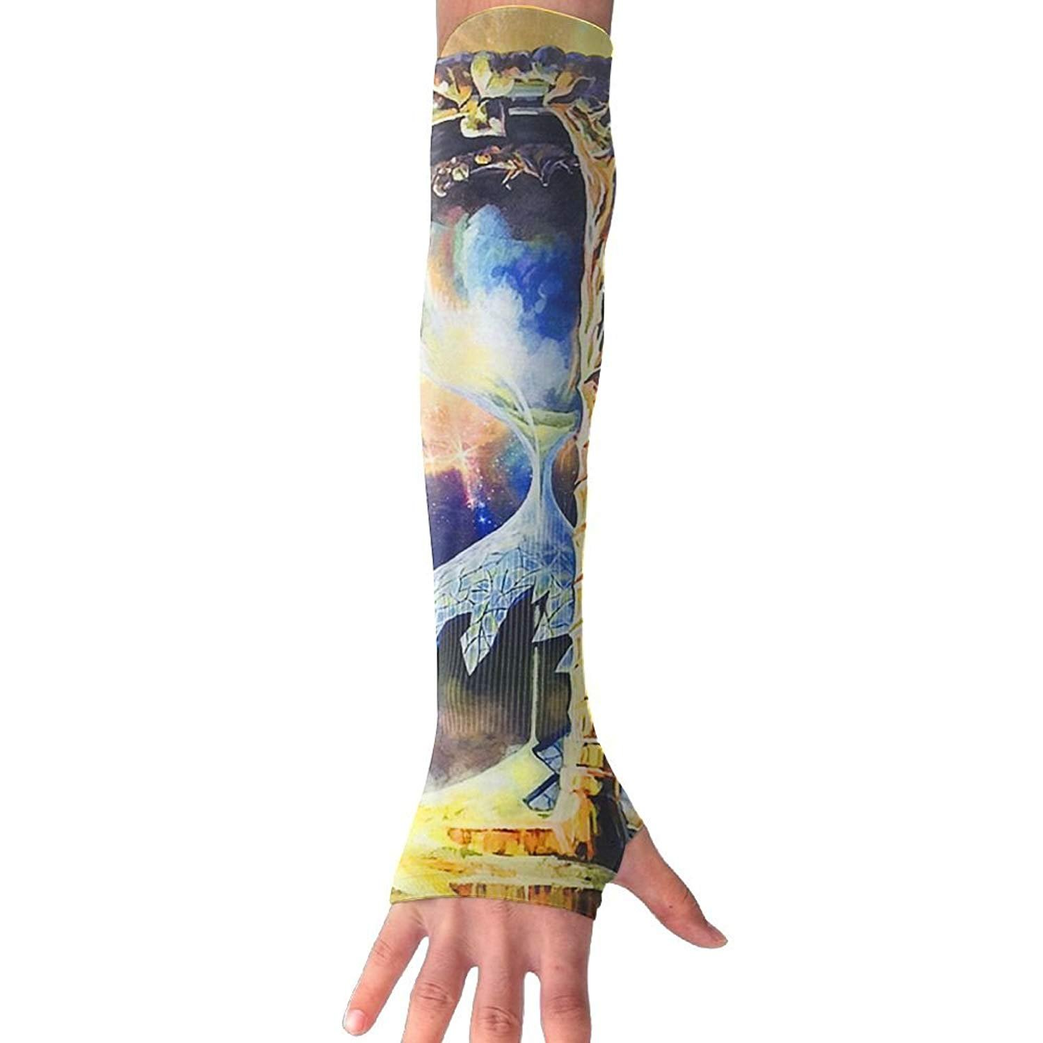 Unisex Galaxy Hourglass Design Sense Ice Outdoor Travel Arm Warmer Long Sleeves Glove