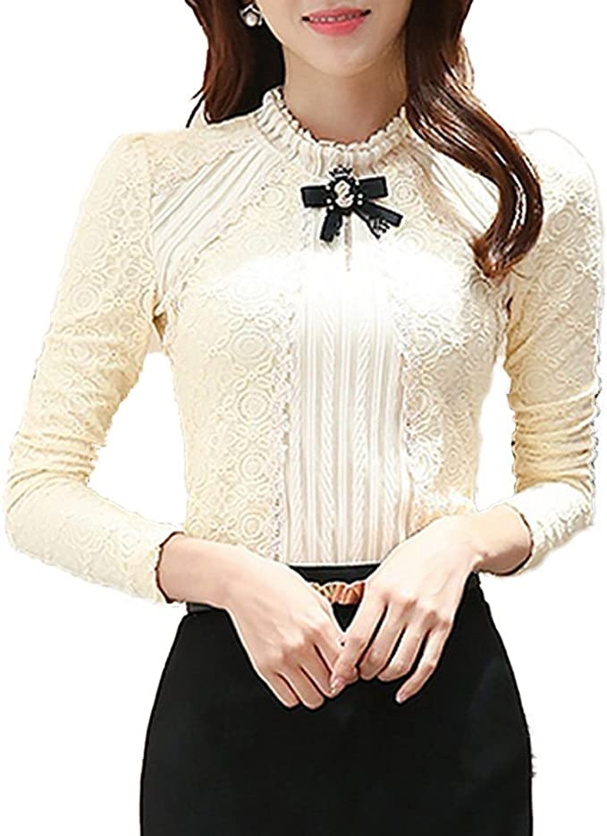 Pleated Lace Stretchable Blouse