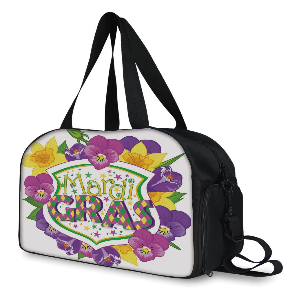 iPrint Travel handbag,Mardi Gras,Blazon with Flourishing Colorful Flowers Coat of Arms Masquerade Holiday Theme Decorative,Multicolor ,Personalized by iPrint (Image #2)