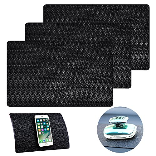 AIFUDA 3 Pcs Car Dashboard Pads Non-slip 11'' x 7'', Anti-Slip Ripple Sticky Dash Grip Mat for Coin Phone Key Sunglasses - Black by AIFUDA