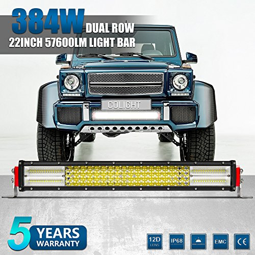 Jiuguang Off Road LED Light Bar Combo Beam 4 Rows 22inch 384W 57600lumens 12D Lamp Cup Highly Sealed Strip Lights for SUV Trucks ATVs