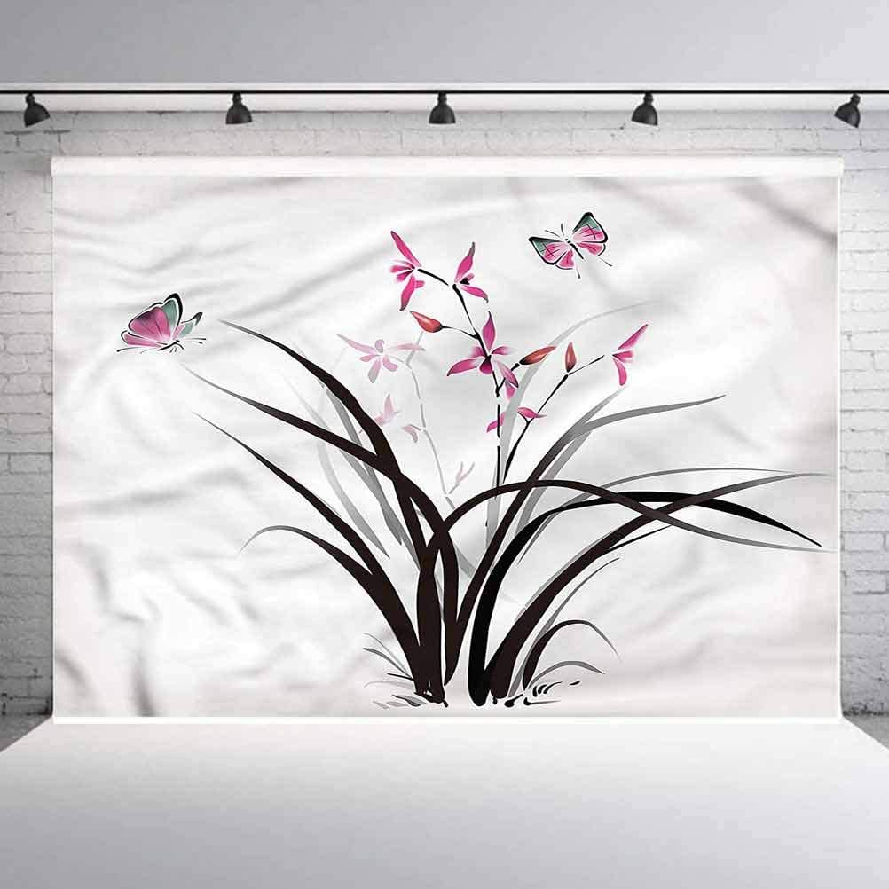 6x6FT Vinyl Photo Backdrops,Butterfly,Chinese Orchid Nature Photoshoot Props Photo Background Studio Prop