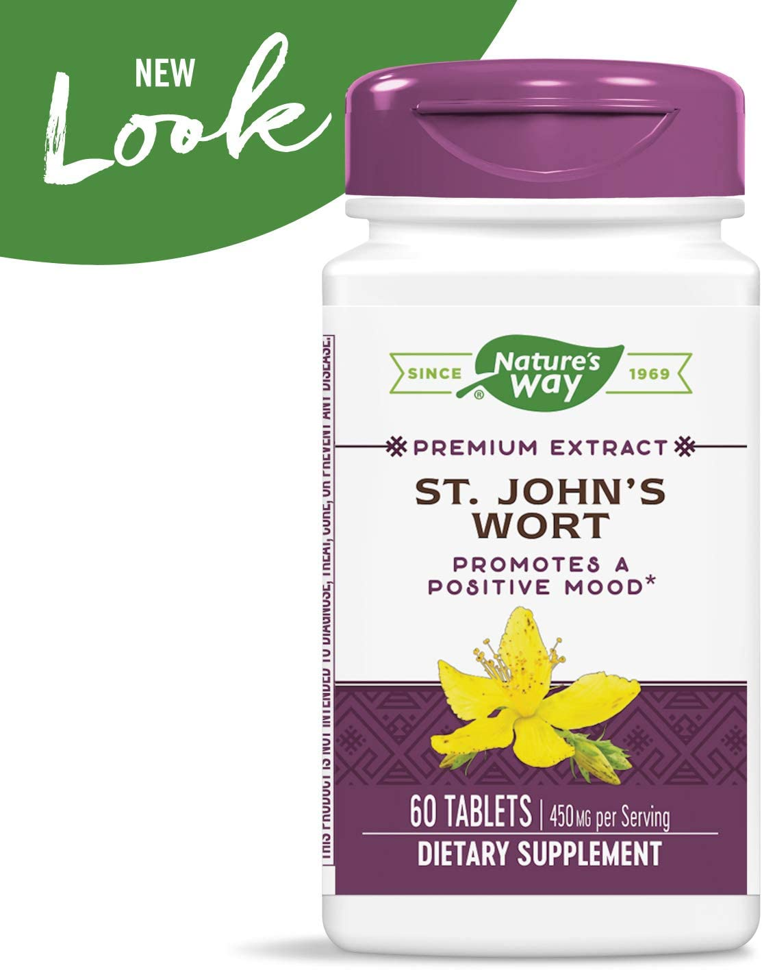 Nature's Way St. John's Wort Standardized Extract Mood Support, 450 mg per Serving, 60 Count (Packaging May Vary): Health & Personal Care