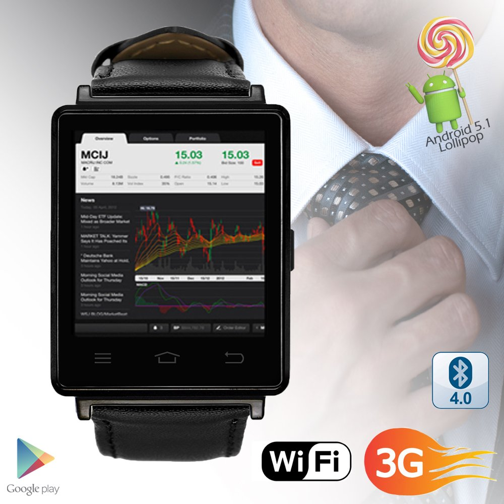 Indigi 3G GSM Unlocked Smart Watch & Phone Android 5.1 OS WiFi + GPS(Maps) + Google Play + Heart Rate