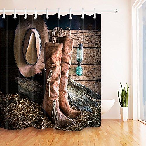 LB Old Western Cowgirl Boot Shower Curtain for Bathroom, Texas Country Farm Barn Cowboy West Themed Curtain,Waterproof Fabric Decorative Curtain, 70 x -