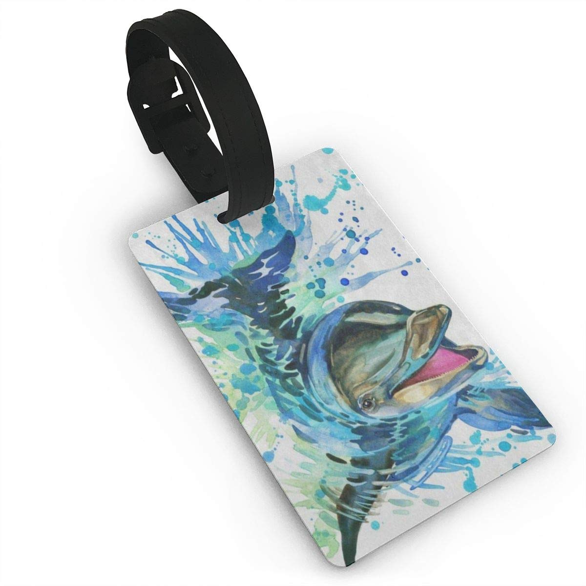 Luggage Tags Watercolor Funny Dolphin Bag Tag for Travel 2 PCS