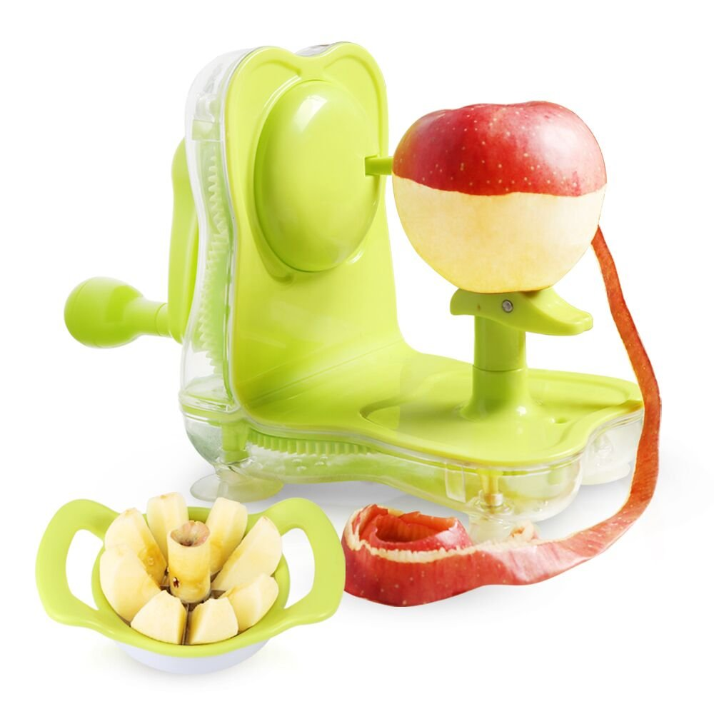 Apple Peeler & Core Slicer with Vacuum Suction Hand Crank Apple Peeler, Cook Joy Pear Potato Slicer Corer Fruit Vegetable Peeler (green)