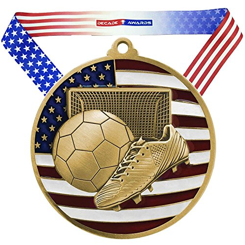 Decade Awards Soccer Patriotic Medal, Gold - 2.75 Inch Wide Futbol First Place Medallion with Stars and Stripes American Flag V Neck Ribbon
