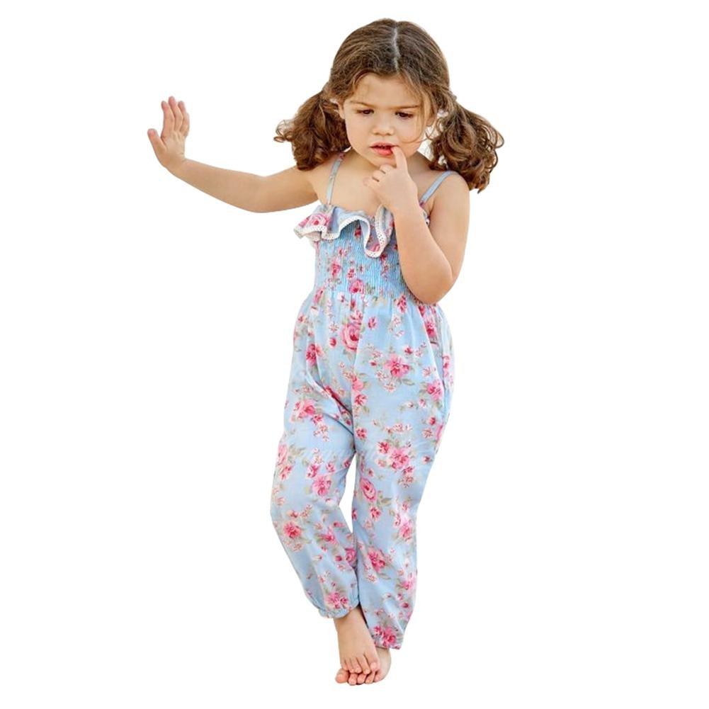 Chinatera Little Girls Halter Harem Romper, Floral Print Jumsuit, One-Pieces Summer Cloth for Toddler Girl (Sky Blue-Roses, 4T/5T)