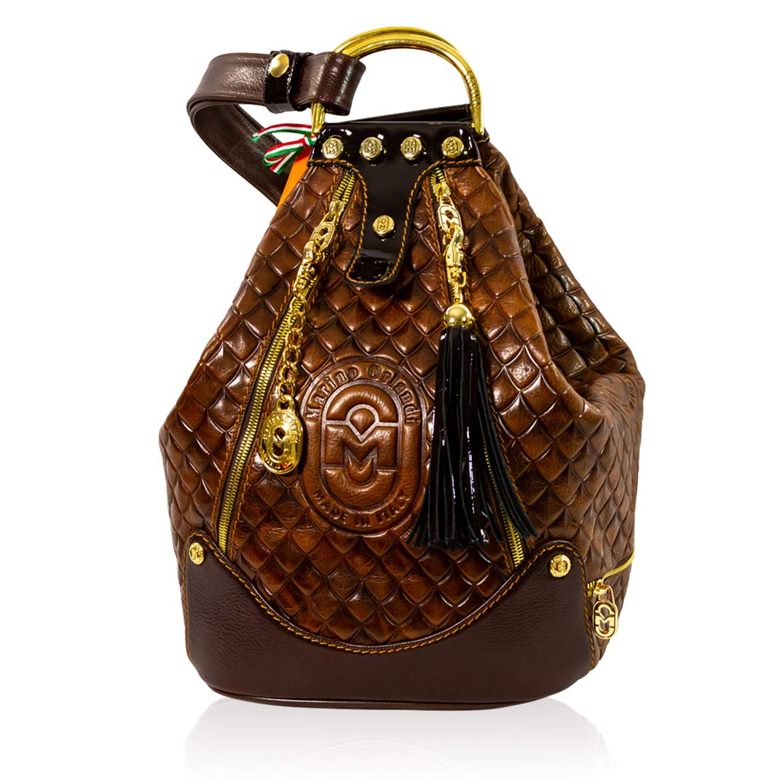 Marino Orlandi Italian Designer Quilted Maroon Leather Oversized Sling Purse  Bucket Bag 1934d2deffcb7