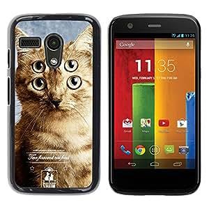 YiPhone /// Prima de resorte delgada de la cubierta del caso de Shell Armor - Commercial Clever Cat Feline Mutant Hero - Motorola Moto G 1 1ST Gen I X1032