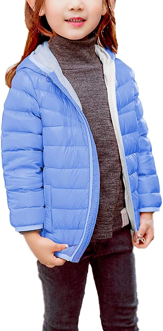 Zando Girls Lightweight Down Coat Water Resistant Outwear Hooded Warm Kids Puffer Jacket for Winter