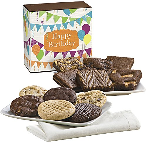 Fairytale Brownies Birthday Cookie & Brownie Combo Gourmet Food Gift Basket Chocolate Box - 3 Inch Square Full-Size Brownies And 3.25 Inch Cookies - 12 Pieces