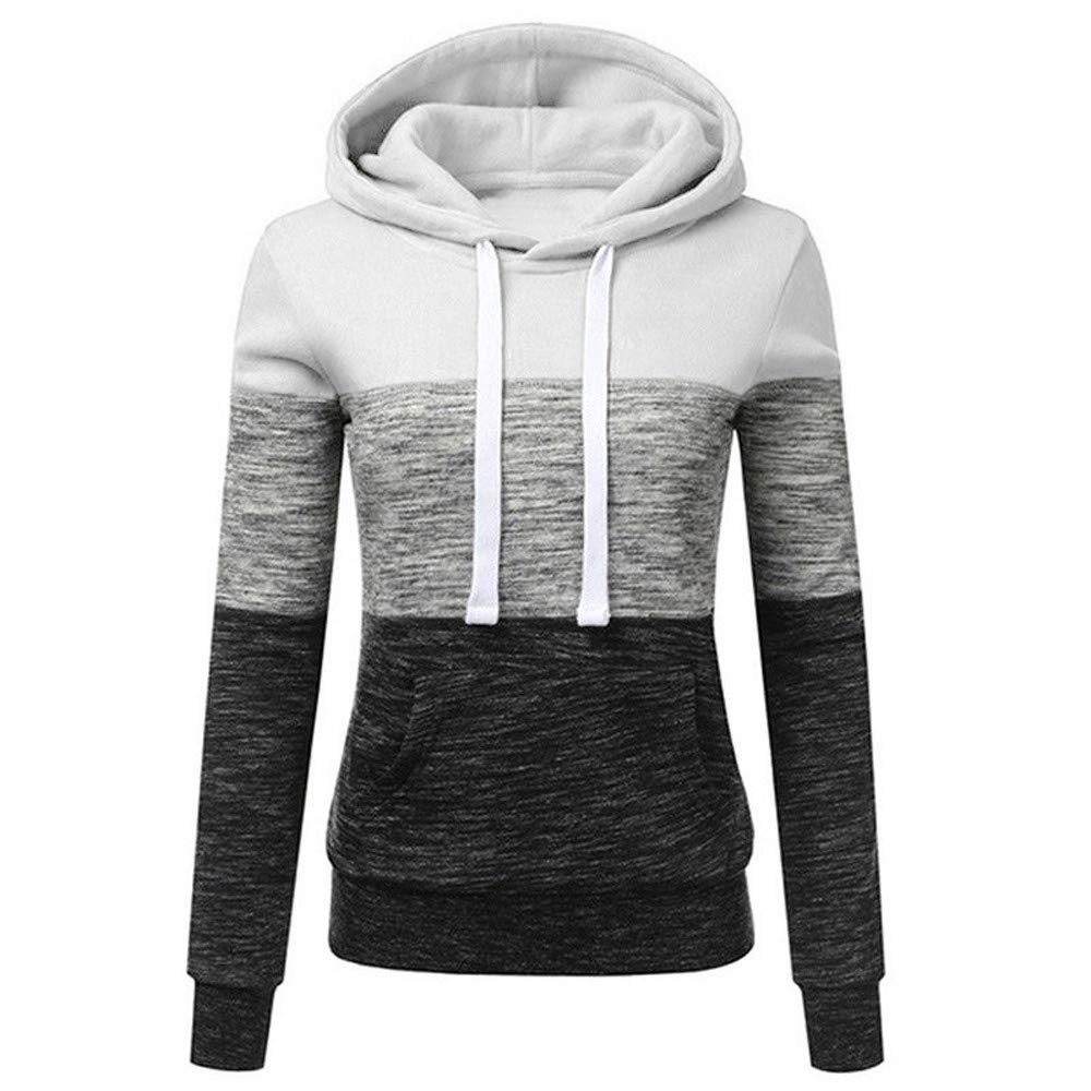 STORTO Womens Casual Color Block Hoodies Sweatshirt Patchwork Drawstring Pullover Tops White