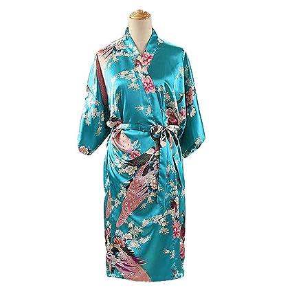 Turquesa - Pavo Real/Flores Albornoz Largo de Mujer Bata de Kimono Pijamas de Seda