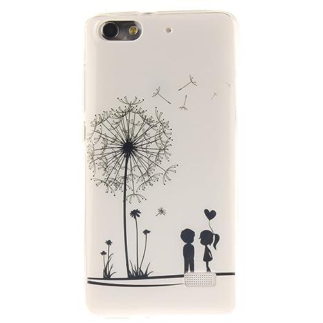 Guran® Silicona Funda Carcasa para Huawei G Play Mini Smartphone Case Bumper Shock TPU Cover-Los amantes y el diente de león