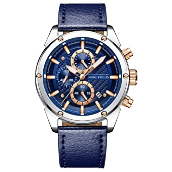9f412a2231 MINI FOCUS ファッションウォッチ メンズ スポーツ防水腕時計 レザーストラップ付き カレンダー 日付 ビジネス クォーツ メンズ