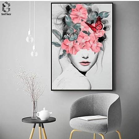 Retrato de niña de las flores Impresiones de la lona Arte de ...