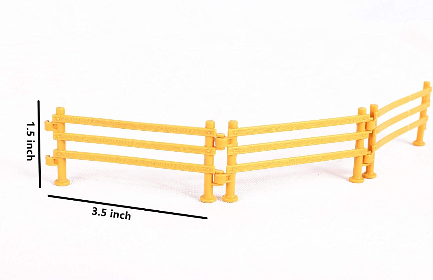 Mini Plastic Garden Fence Toys Farm Animals Horses Figurines YUCAN 50PCS Toys Fence Horse Corral Fencing Accessories Playset F Yellow Fence Panels Cake Toppers for Kids Paddock Toys