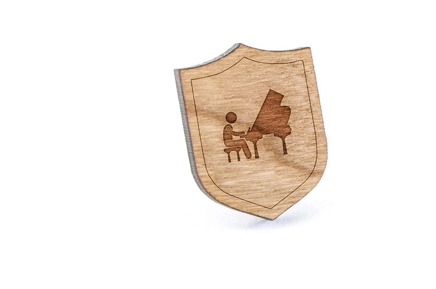 Pianist Lapel Pin, Wooden Pin And Tie Tack | Rustic And Minimalistic Groomsmen Gifts And Wedding Accessories on sale