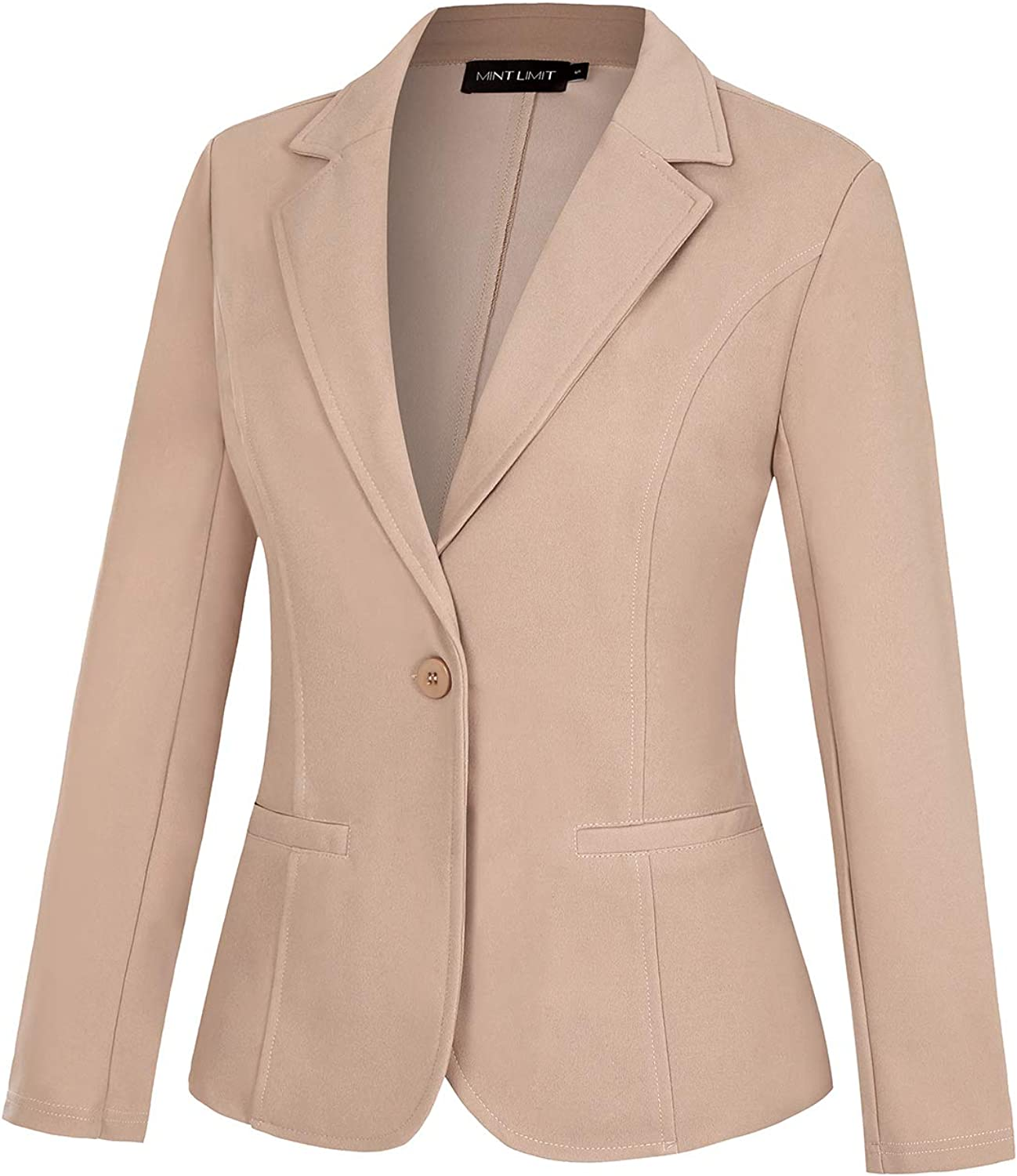 MINTLIMIT Womens Casual Work Office Blazer Pockets Button Long Sleeve Suits Jackets