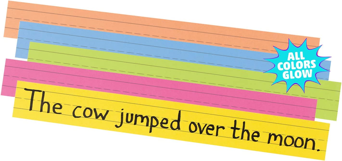 """Pacon Super Bright Sentence Strips, 5 Assorted Colors, 1-1/2"""" Ruled 3"""" x 24"""", 100 Strips : Themed Classroom Displays And Decoration : Office Products"""