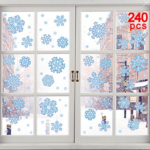 Ivenf 240pcs Glitter Winter Christmas Static Blue Snowflake Decoration Decal Window Clings, 12 Sheets -