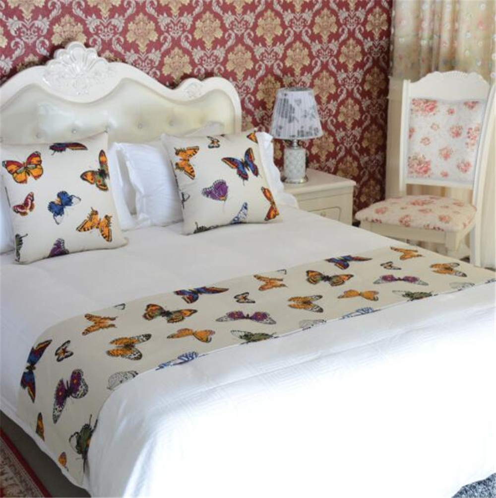 YIH White Queen Bed Scarf, Butterfly Bed End Scarf for Bedroom Hotel Wedding Room Pet Protector Dog Covers for Bed, 1 Bed Runner + 2 Cushion Covers 94'' x 19''