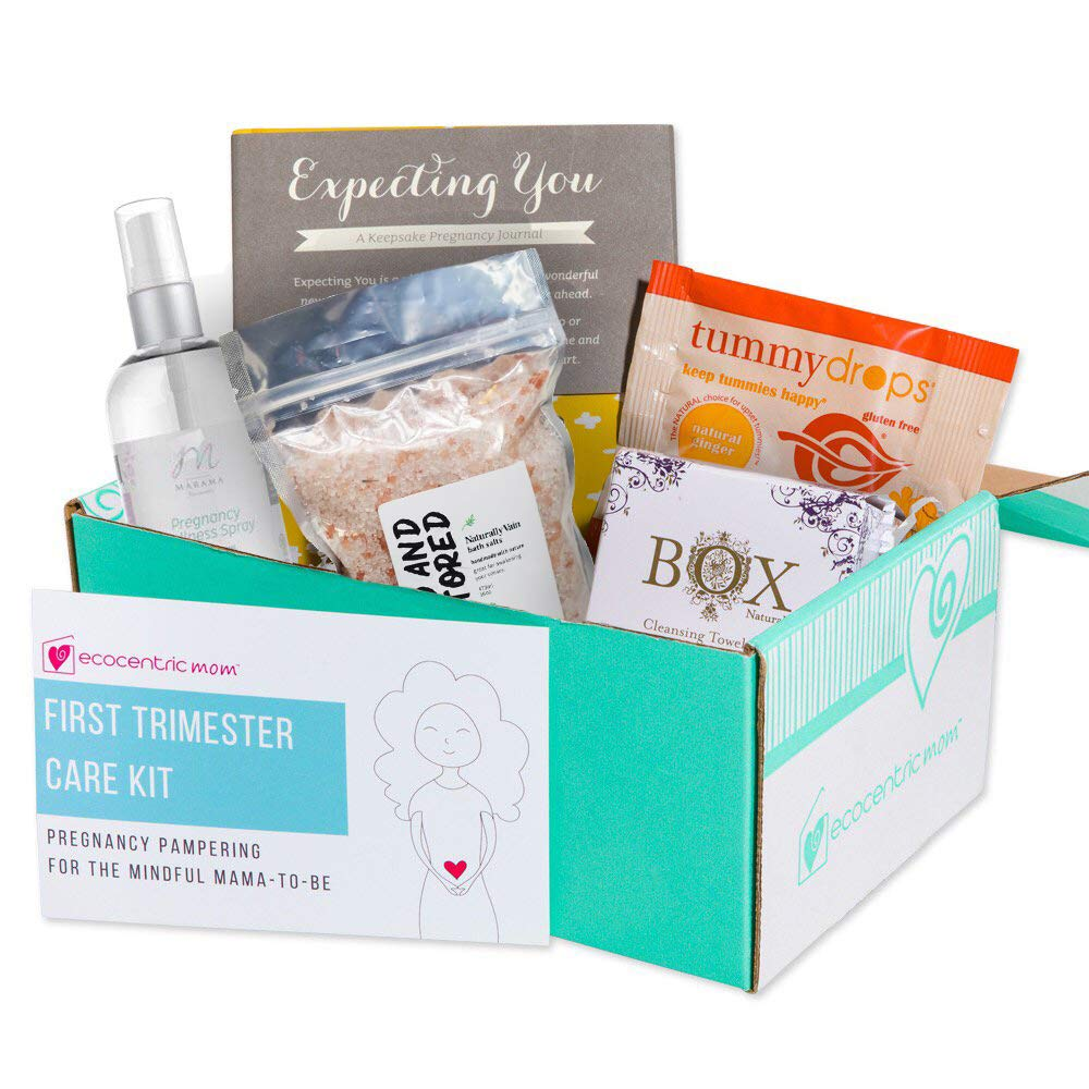 Ecocentric Mom Pregnancy Gift Box - First Trimester Maternity Gifts With Non-Toxic, Organic, Natural & Unique Products - Lavender Wipes, Bath Salts, Body Nectar, Pregnancy Journal And Tummy Drops by Ecocentric Mom