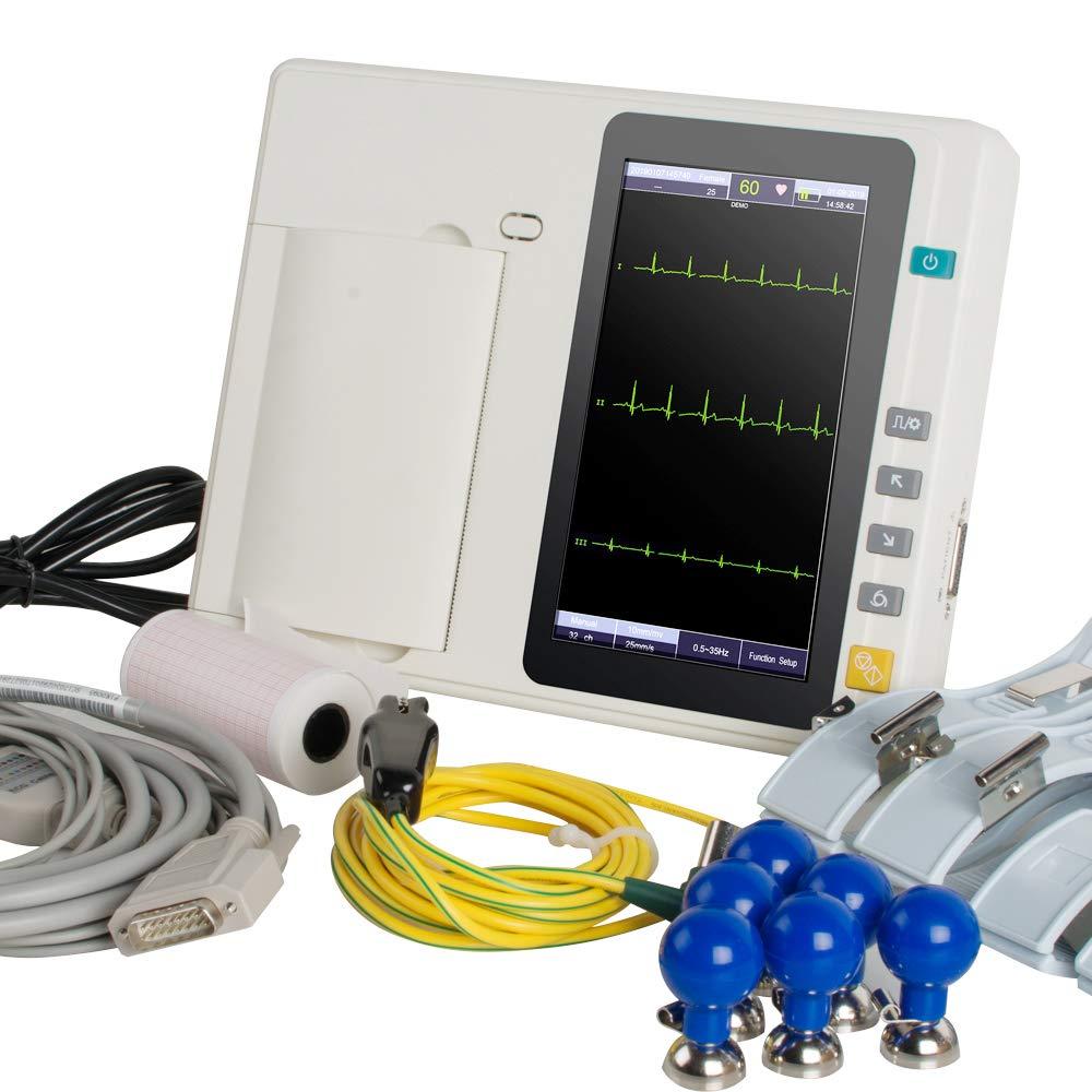 Denshine Electrocardiógrafo Digital Portátil Máquina de ECG/EKG con 3 Canales y Pantalla Táctil LCD de 7