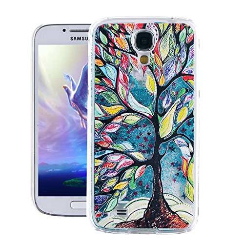 Galaxy S4 Case, Samsung S4 Case, EMAXELER 3D Creative Painted Pattern Flowing Liquid Floating Bling Shiny Liquid Polycarbonate Hard Case for Samsung Galaxy S4 + Stylus Pen-Blue: Painting Tree
