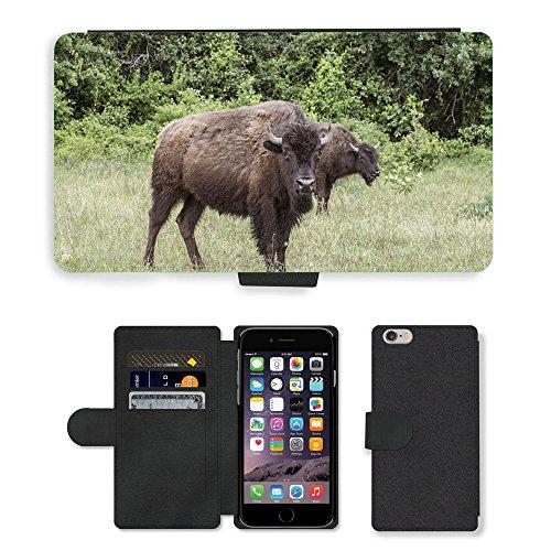 "Just Phone Cases PU Leather Flip Custodia Protettiva Case Cover per // M00127458 Bison Ranch Buffalo élevage // Apple iPhone 6 PLUS 5.5"""