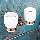 WAWZJ All Copper Brown ancient toothbrush double cup holder,Double cup