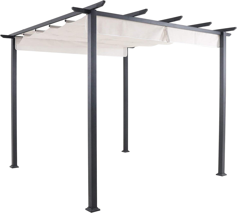 Hanover Pérgola de Aluminio y Acero con toldo Ajustable, Gris D x 9.8 pies W x 7.6 pies H, Muebles de Exterior REEDPERG-Gry, Color Blanco