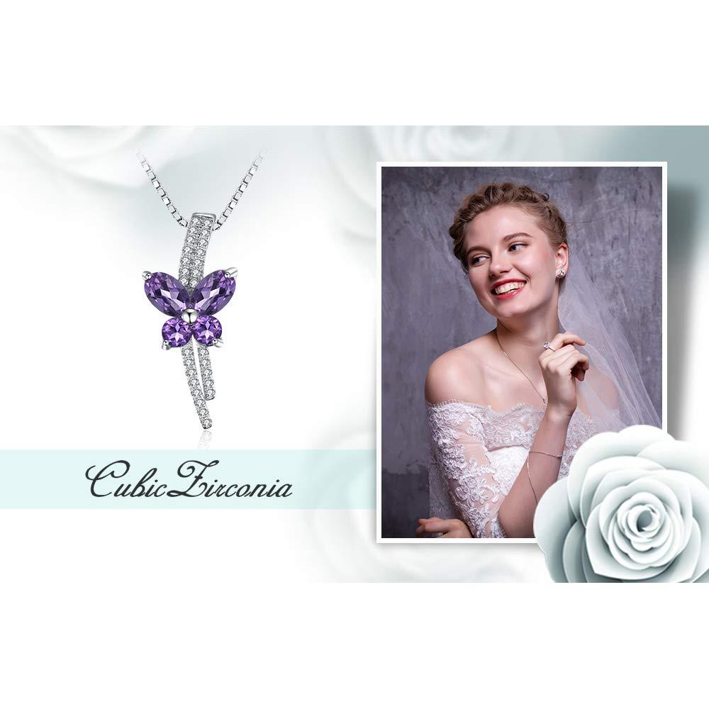 JewelryPalace Cushion Cut V/éritable Am/éthyste Pendentif En Argent Sterling 925