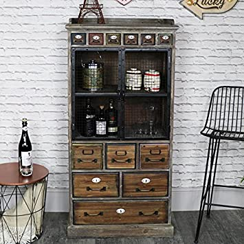 Melody Maison Tall Rustic Industrial Apothecary Cabinet